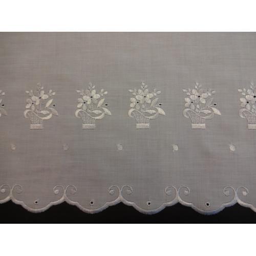 Krátká vitrážová záclona 48cm Košík Kytiček