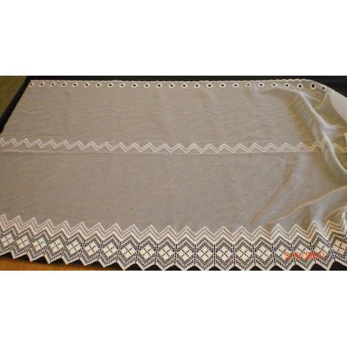 Krátká vitrážová záclona na tyčku 90cm BATIST Výšivka bílá