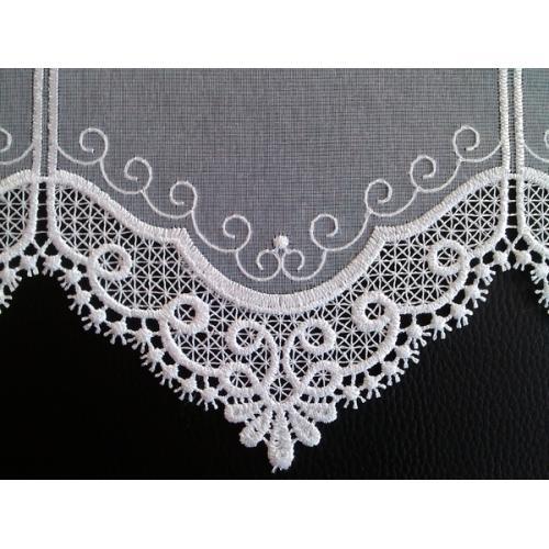 Krátká vitrážová záclona na tyčku 60cm V173 bílá