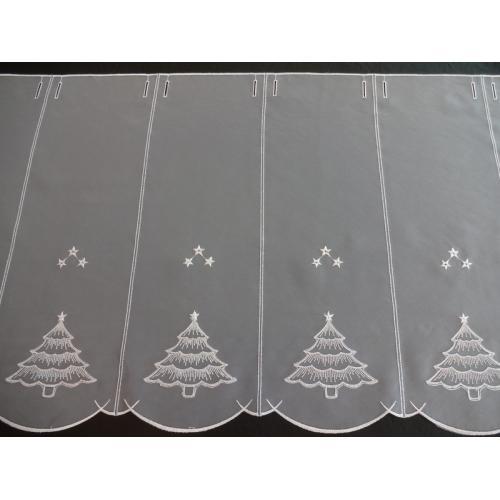 Krátká vitrážová záclona na tyčku 50cm vánoční stromeček bílá