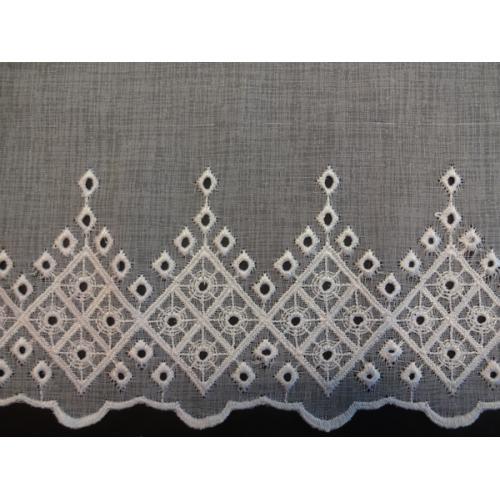 Krátká vitrážová záclona na tyčku 60cm BATIST W30198 bílá