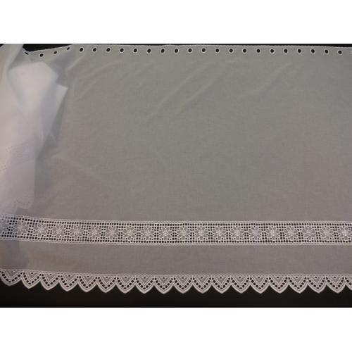 Krátká vitrážová záclona na tyčku 90cm BATIST 2318 bílá