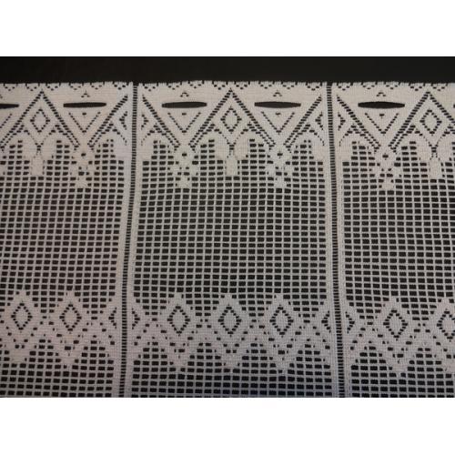 Krátká vitrážová záclona na tyčku 52cm Geometrické vzory bílá