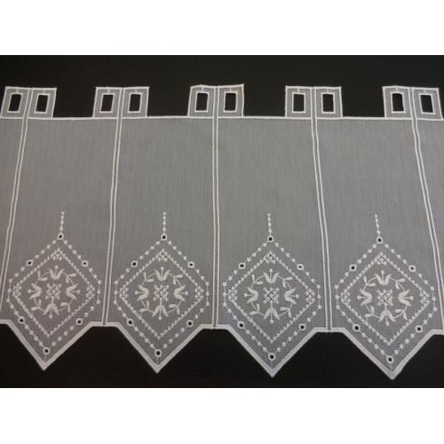 Krátká vitrážová záclona na tyčku 30cm BATIST 40200 bílá
