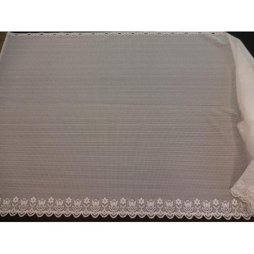 Krátká vitrážová záclona 90cm Drobné růžičky bílá