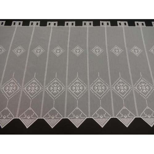 Krátká vitrážová záclona na tyčku 60cm BATIST Tulipán