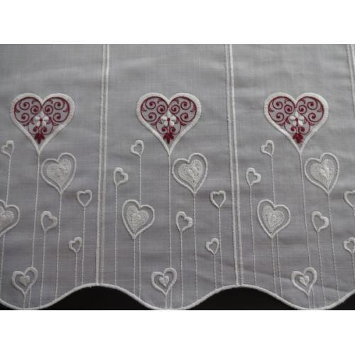 Krátká vitrážová záclona na tyčku 50cm BATIST Srdíčka 11244