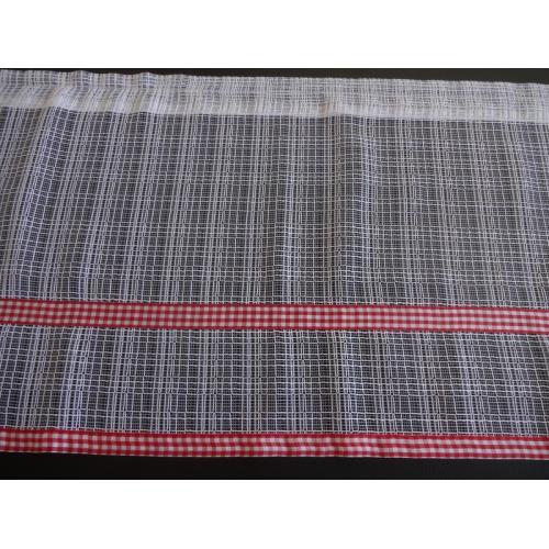 Krátká vitrážová záclona na tyčku 45cm síť červená