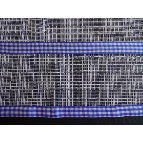 Krátká vitrážová záclona na tyčku 45cm síť modrá