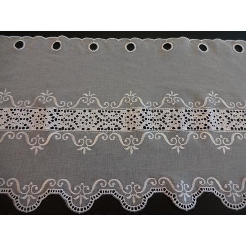 Krátká vitrážová záclona na tyčku 35cm BATIST 38113 bílá