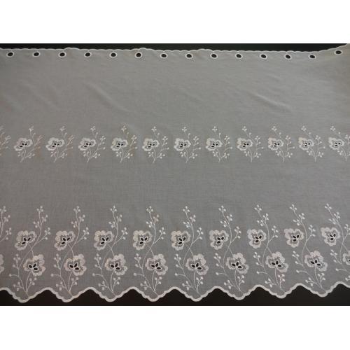 Krátká vitrážová záclona na tyčku 75cm BATIST 14274 bílá