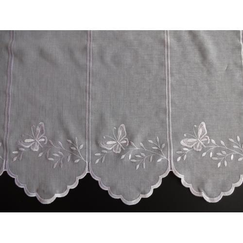 Krátká vitrážová záclona na tyčku 60cm BATIST Motýlci