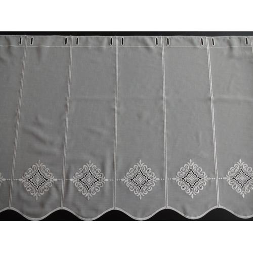 Krátká vitrážová záclona na tyčku 60cm BATIST Ornament 2632 béžová