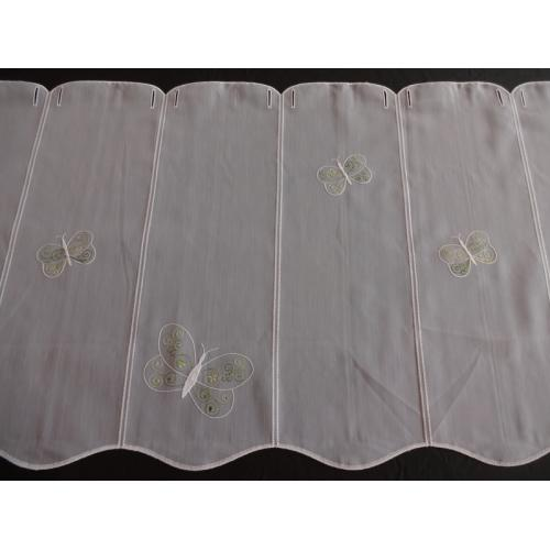 Krátká vitrážová záclona na tyčku 50cm Motýlci F249887 bílá