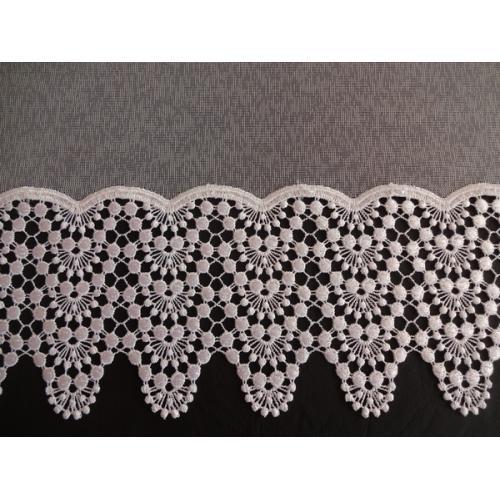 Vyšívaná záclona s bordurou sable 4452/175 bílá