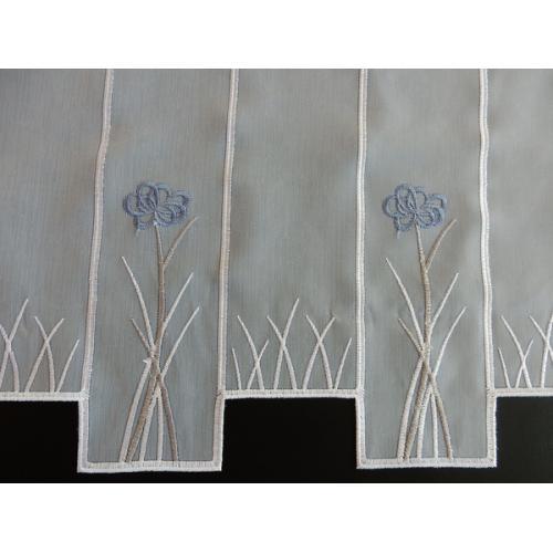 Krátká vitrážová záclona 60cm Kytička modrá 322