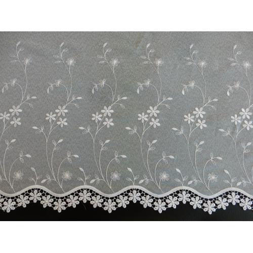 Vyšívaná záclona s bordurou 705/170 bílá