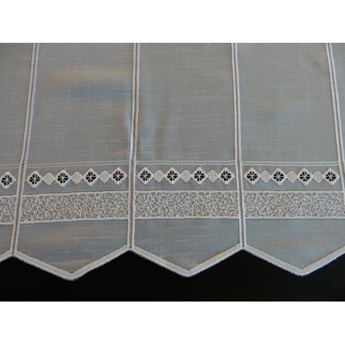 Krátká vitrážová záclona na tyčku 90cm BATIST 13040 bílá