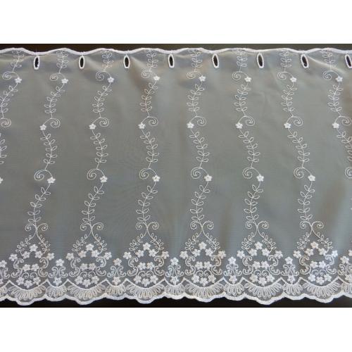 Krátká vitrážová záclona na tyčku 45cm 594/601 bílá