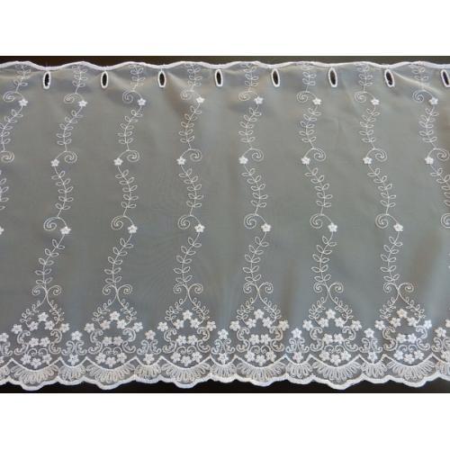 Krátká vitrážová záclona na tyčku 60cm 594/601 bílá