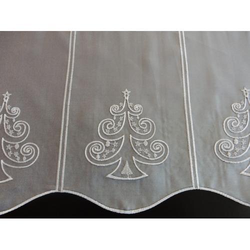 Krátká vitrážová záclona na tyčku 50cm Vánoční stromek
