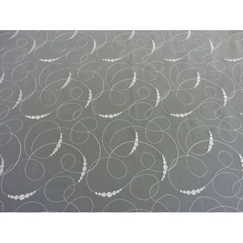Žakárová záclona s bordurou vlnky 116031/130 bílá