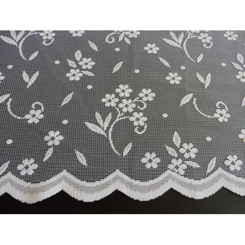 Žakárová záclona s bordurou Kytičky 4437/140 bílá