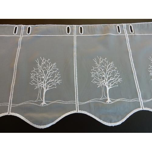 Krátká vitrážová záclona na tyčku 45cm stromek bílá