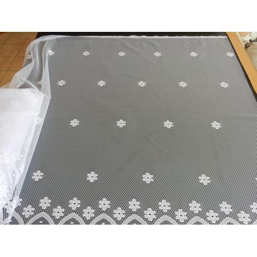 Žakárová záclona s bordurou Kytičky 4421/140 bílá
