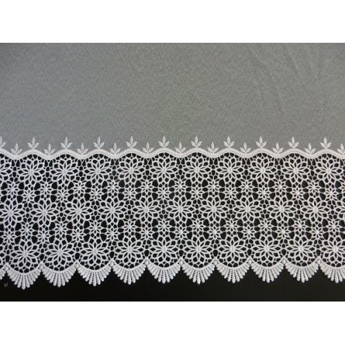 Vyšívaná záclona s bordurou sable 11509/180 bílá