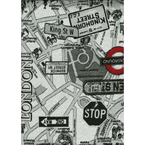 Potahová látka s moderním komiksovým vzorem KOMIKS LONDON 1 černo-bílá