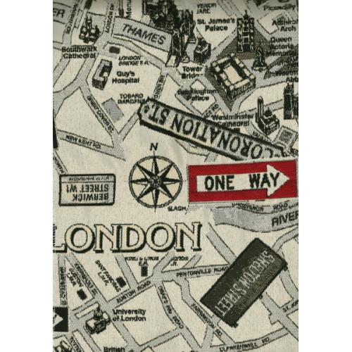 Potahová látka s moderním komiksovým vzorem KOMIKS LONDON 5 černo-béžová