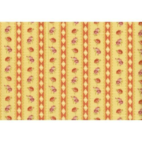 Potahová látka s květinovým vzorem ROSA ASTON C/3 světle žlutá