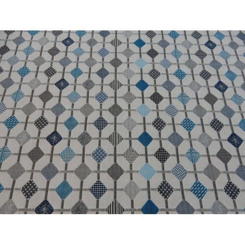 Potahová látka s retro vzorem metráž RETRO DIAGONÁLY modré