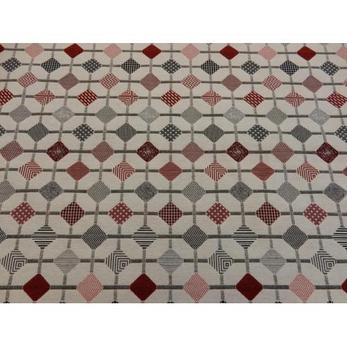 Potahová látka s retro vzorem metráž RETRO DIAGONÁLY červené
