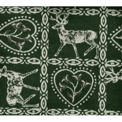Kostičková dekorační látka se srdíčky a jelenem ALPES VARESE C/37 zelená