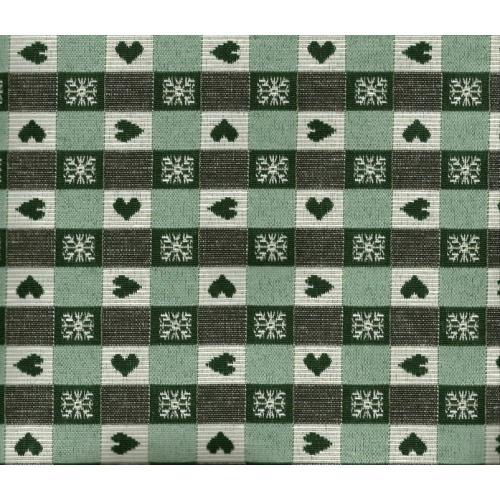 Kostičková dekorační látka se srdíčky ALPES COMO C/37 zelená