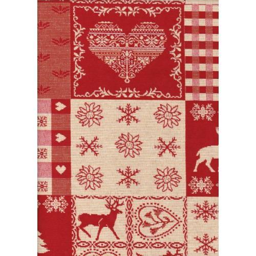 Kostičková dekorační látka se stromečky a jelenem ALPES LEMAN C/29 červená