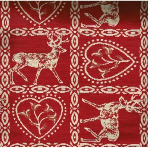 Kostičková dekorační látka se srdíčky a jelenem ALPES VARESE C/29 červené