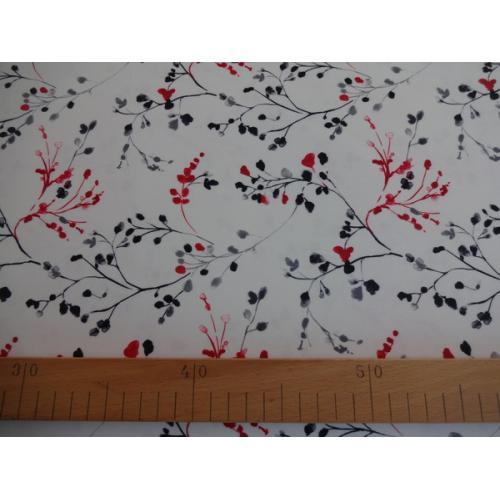 Dekorační závěsová látka větvičky TINA 37 červeno-černá
