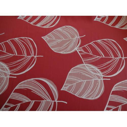 Dekorační závěsová látka s velkými LISTY červená