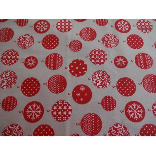 Vánoční bavlněná dekorační látka OZDOBY II