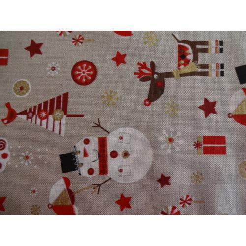 Vánoční bavlněná dekorační látka SNĚHULÁK a SOB