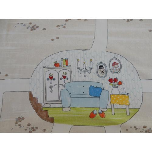 Dekorační bavlněná látka s dětským vzorem TWISTER MOLE