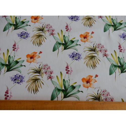 Dekorační závěsová látka s květy ibišku CELTIC IBISCUS