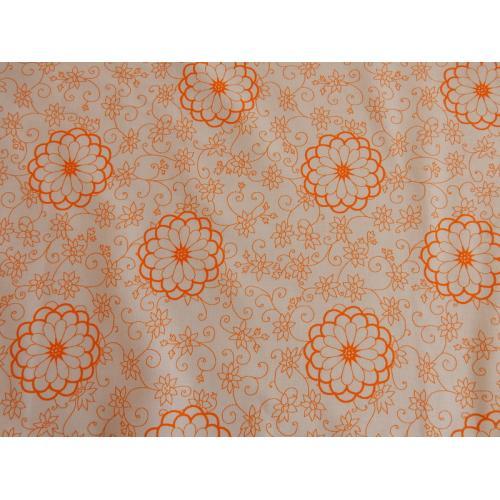Dekorační bavlněná látka s kytičkami 1475361/11 oranžová