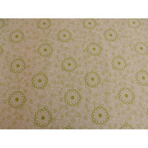 Dekorační bavlněná látka s kytičkami 1475361/12 zelená
