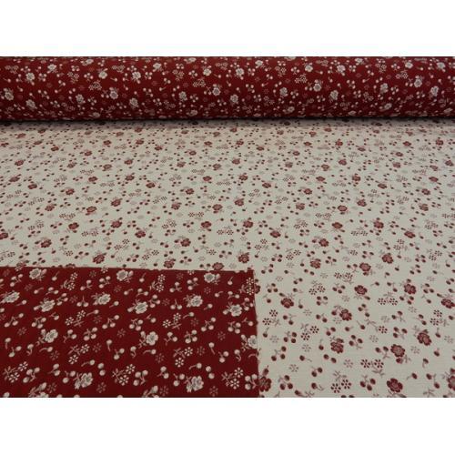 Dekorační závěsová látka KYTIČKY RUTA 22 tmavě červená