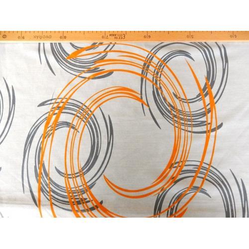 Vypalovaná záclona organza se vzorem CIRCLE oranžová
