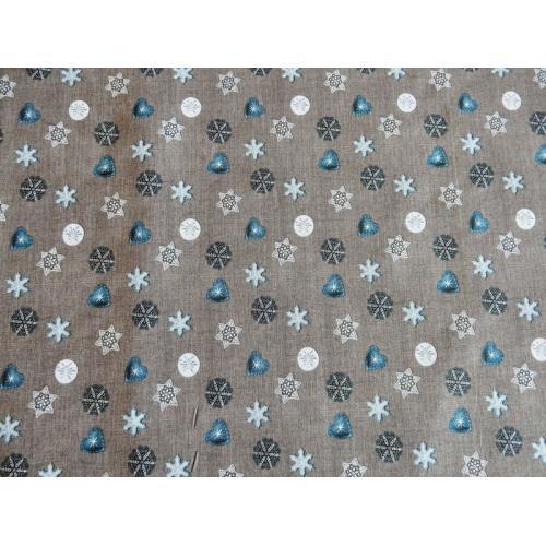 Vánoční bavlněná dekorační látka Motivy drobné